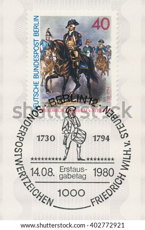 ST. PETERSBURG, RUSSIA - APR 8, 2016: A first day of issue postmark printed in Berlin, Germany, shows Leading Troops. Friedrich Wilhelm von Steuben (1730-94), circa 1980 - stock photo
