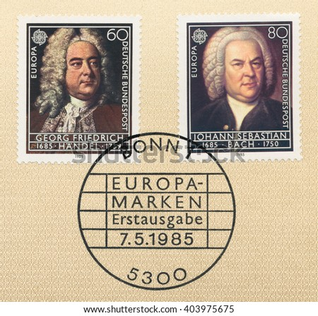 ST. PETERSBURG, RUSSIA - APR 10, 2016: A first day of issue postmark printed in Berlin, Germany, shows European Music Year: Georg Friedrich Handel. Johann Sebastian Bach, circa 1985 - stock photo