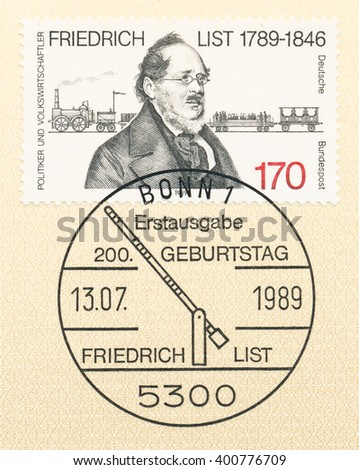ST. PETERSBURG, RUSSIA - APR 4, 2016: A first day of issue postmark printed in Bonn, Germany, shows Friedrich List (1789-1846), Economist, circa 1989 - stock photo