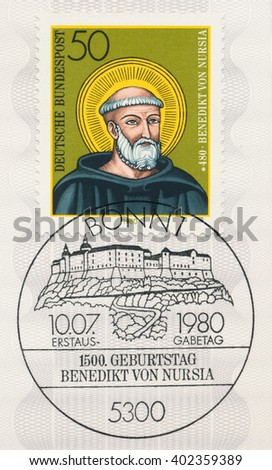 ST. PETERSBURG, RUSSIA - APR 7, 2016: A first day of issue postmark printed in Bonn, Germany, shows portrait of St. Benedict of Nursia, 1500th Birth Anniv., circa 1980 - stock photo