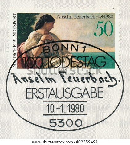 ST. PETERSBURG, RUSSIA - APR 7, 2016: A first day of issue postmark printed in Bonn, Germany, shows Iphigenia by Anselm Feuerbach (1829-1880), historical and portrait painter, circa 1980 - stock photo