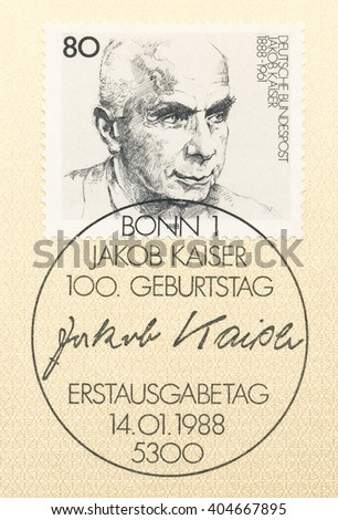 ST. PETERSBURG, RUSSIA - APR 12, 2016: A first day of issue postmark printed in Germany, shows portrait of Jacob Kaiser (1888-1961), Labor Leader, circa 1988 - stock photo
