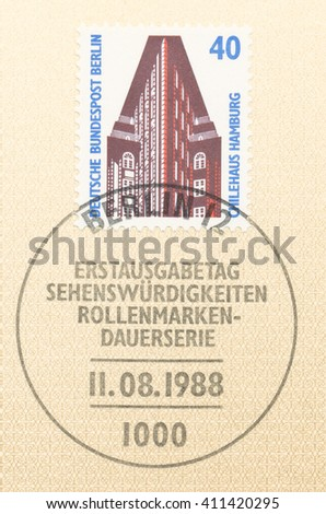 ST. PETERSBURG, RUSSIA - APR 25, 2016: A first day of issue postmark printed in Germany, shows Chile House, Hamburg, circa 1988 - stock photo