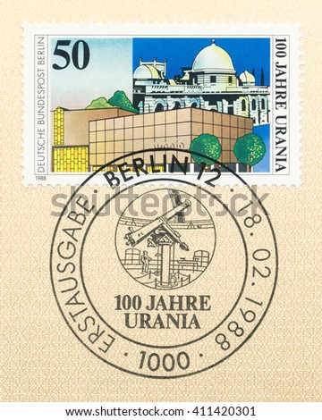 ST. PETERSBURG, RUSSIA - APR 25, 2016: A first day of issue postmark printed in Germany, shows Urania Science Museum and telescope, Centure, circa 1988 - stock photo