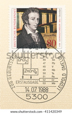ST. PETERSBURG, RUSSIA - APR 25, 2016: A first day of issue postmark printed in Germany, shows Leopold Gmelin (1788-1853), Chemist, circa 1988 - stock photo