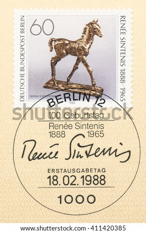 ST. PETERSBURG, RUSSIA - APR 25, 2016: A first day of issue postmark printed in Germany, shows Thoroughbred Foal, bronze sculpture by Renee Sintenis (1888-1965), circa 1988 - stock photo