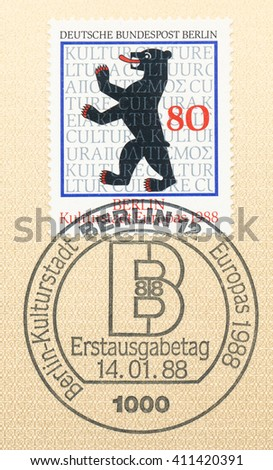 ST. PETERSBURG, RUSSIA - APR 25, 2016: A first day of issue postmark printed in Germany, shows Berlin Bear, European Culture, circa 1988 - stock photo