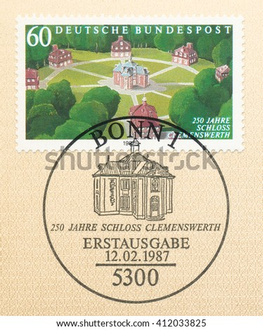 ST. PETERSBURG, RUSSIA - APR 27, 2016: A first day of issue postmark printed in Germany, shows Clemenswerth Hunting Castle, 250th Anniv., circa 1987 - stock photo