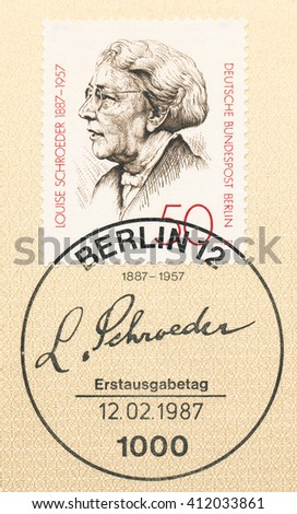ST. PETERSBURG, RUSSIA - APR 27, 2016: A first day of issue postmark printed in Germany, shows portrait of Louise Schroeder (1887-1957), Politican, circa 1987 - stock photo