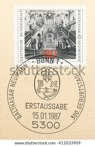ST. PETERSBURG, RUSSIA - APR 27, 2016: A first day of issue postmark printed in Germany, shows Archbishops Residence at Wurzburg, 1719-44 Balthasar Neumann (1687-1753), Baroque architect, circa 1987 - stock photo