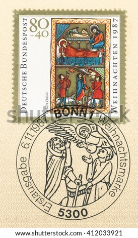 ST. PETERSBURG, RUSSIA - APR 27, 2016: A first day of issue postmark printed in Germany, shows Illustration from Book of Psalms, 13th cent., Bavarian Natl. Museum: Birth of Christ, circa 1987 - stock photo