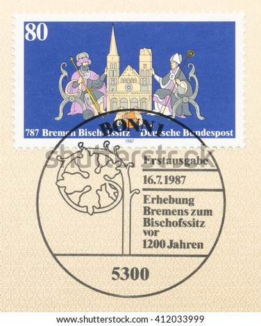 ST. PETERSBURG, RUSSIA - APR 27, 2016: A first day of issue postmark printed in Germany, shows Bishopric of Bremen, 1200th Anniv. Charlemagne, Bremen Cathedral, city arms, Bishop Willehad, circa 1987 - stock photo