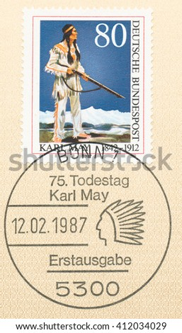 ST. PETERSBURG, RUSSIA - APR 27, 2016: A first day of issue postmark printed in Germany, shows Apache Chief Winnetou. Karl May (1842-1912), Novelist