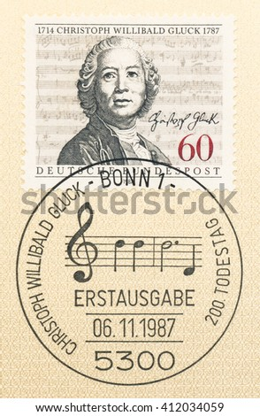 ST. PETERSBURG, RUSSIA - APR 27, 2016: A first day of issue postmark printed in Germany, shows Christoph Willibald Gluck (1714-1787), Composer, and Score from the Opera Armide, circa 1987 - stock photo