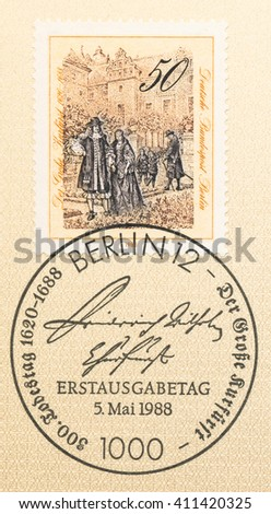 ST. PETERSBURG, RUSSIA - APR 25, 2016: A first day of issue postmark printed in Germany, shows The Great Elector with Family in Berlin Castle Gardens, circa 1988 - stock photo