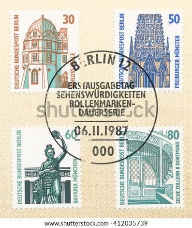 ST. PETERSBURG, RUSSIA - APR 27, 2016: A postmark Germany, shows Celle Castle 14th cent. Filigree tracery on spires, Freiburgl. Munich, bronze statue. Entrance to Zollern II, circa 1987 - stock photo