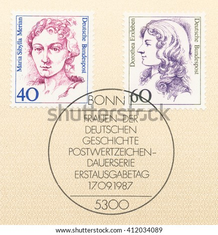 ST. PETERSBURG, RUSSIA - APR 27, 2016: A postmark Germany, shows Maria Sibylla Merian (1647-1717) naturalist and scientific illustrator and Dorothea Erxleben (1715-62) physician, circa 1987 - stock photo