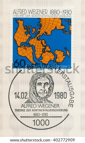 ST. PETERSBURG, RUSSIA - APR 8, 2016: A postmark Germany, shows Showing Continental Drift. And Alfred Wegener (1880-1930), geophysicist,  meteorologist; founded theory of continental drift, circa 1980 - stock photo