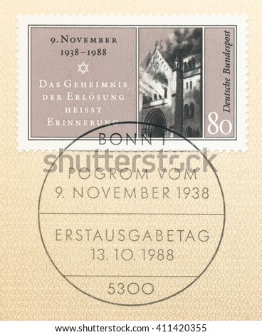 ST. PETERSBURG, RUSSIA - APR 25, 2016: A postmark Germany, shows1st Nazi Pogrom, Nov. 9, 1938. Star, Remembering is the secret of redemption, and burning synagogue in Baden-Baden circa 1988 - stock photo