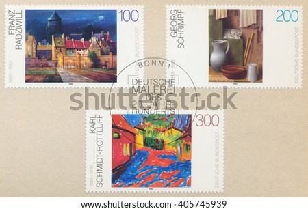ST. PETERSBURG, RUSSIA - APR 14, 2016: A postmark Germany, shows The Water Tower in Bremen by F. Radziwill. Still Life with a Cat by G. Schrimpf. An Estate in Dangast by Schmidt-Rottluff, circa 1995