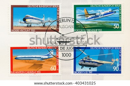 ST. PETERSBURG, RUSSIA - APR 8, 2016: A postmark printed in Berlin, Germany, shows Vickers Viscount, 1950. Fokker 27 Friendship, 1955. Sud Aviation Caravelle, 1955. Sikorsky-55, 1949, circa 1980 - stock photo