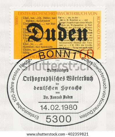 ST. PETERSBURG, RUSSIA - APR 7, 2016: A postmark printed in Bonn, Germany, shows Duden Dictionary, Old and New Editions. Konrad Dudens German Language Dictionary, centenary of publication, circa 1980 - stock photo