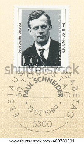 ST. PETERSBURG, RUSSIA - APR 4, 2016: A postmark printed in Bonn, Germany, shows portrait of Reverend Paul Schneider (1897-1939), martyr of Buchenwald concentration camp., circa 1989 - stock photo