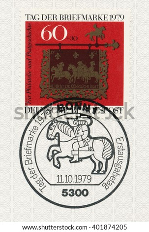 ST. PETERSBURG, RUSSIA - APR 6, 2016: A postmark printed in Germany, shows Post House Sign, Altheim, Saar, Stamp Day. Surtax was for Foundation of Promotion of Philately and Postal History, circa 1989 - stock photo