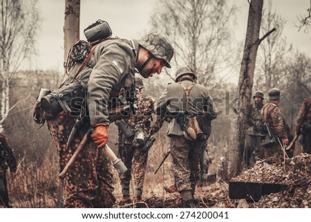 ST. PETERSBURG, RUSSIA - APR 26: Historical reenactment of the last combats of world war two in Europe on april 26, 2015 in St. Petersburg, Russia