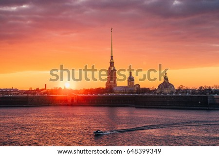 ST. PETERSBURG, RUSSIA - APRIL 19, 2016: A beautiful sunset over the Peter and Paul Fortress