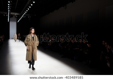 ST. PETERSBURG, RUSSIA - APRIL 1, 2016: Collection of Ianis Chamalidy at the fashion show during Mercedes-Benz Fashion Day St. Petersburg. It is one of the most popular fashion events of the city - stock photo