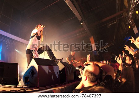 "ST. PETERSBURG, RUSSIA - APRIL 19: Group ""Guano Apes"" in concert on April 19, 2011 in St Petersburg, Russia - stock photo"