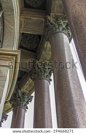St. Petersburg, Russia . Architectural details that adorn the facade of St. Isaac's Cathedral.