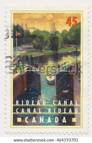 ST. PETERSBURG, RUSSIA - AUGUST 2, 2016: A postmark printed in CANADA, shows Locks, Rideau Canal in Ontario, circa 1998