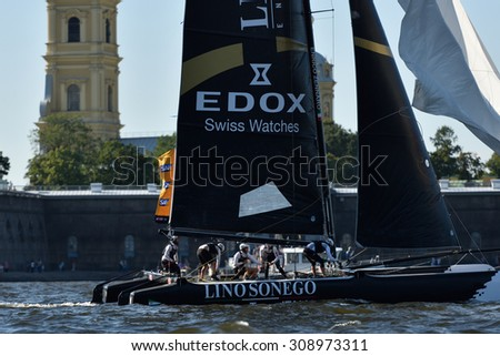 ST. PETERSBURG, RUSSIA - AUGUST 20, 2015: Catamaran of Lino Sonego Team Italia of Italy during the 1st day of St. Petersburg stage of Extreme Sailing Series. Red Bull Sailing Team won the day - stock photo