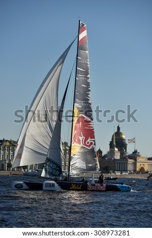 ST. PETERSBURG, RUSSIA - AUGUST 21, 2015: Catamaran of Red Bull Sailing Team of Austria during the 2nd day of St. Petersburg stage of Extreme Sailing Series. The team leading after the 1st day - stock photo
