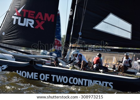 ST. PETERSBURG, RUSSIA - AUGUST 20, 2015: Catamaran of Team Turx of Turkey during 1st day of St. Petersburg stage of Extreme Sailing Series. Red Bull Sailing Team of Austria won the day with 58 points - stock photo