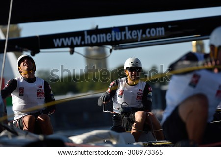 ST. PETERSBURG, RUSSIA - AUGUST 20, 2015: Catamaran of Team Turx of Turkey during the 1st day of St. Petersburg stage of Extreme Sailing Series. Red Bull Sailing Team of Austria won the day - stock photo