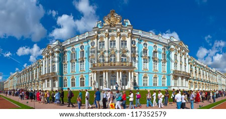 ST.PETERSBURG, RUSSIA - AUGUST 2: Catherine Palace in August 2, 2012 in St.Petersburg, Russia. The former imperial palace.  Building is laid in 1717 on orders of Catherine I. Now a museum