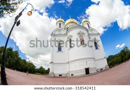ST.PETERSBURG, RUSSIA - AUGUST 4, 2015: Fisheye view on Catherine's Cathedral in Pushkin town in summer sunny day - stock photo