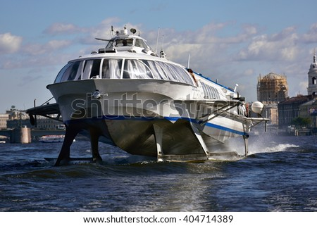 ST. PETERSBURG, RUSSIA - AUGUST 15, 2015: Hydrofoil on the river Neva. Such hydrofoils were produced in 1961-1991 but are still operated today - stock photo