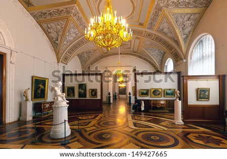 ST.PETERSBURG, RUSSIA - AUGUST 1: Interior of State Hermitag in August 1, 2012 in St.Petersburg, Russia. State Hermitage was founded in 1764. Now it is largest in Russia and one of largest art museums