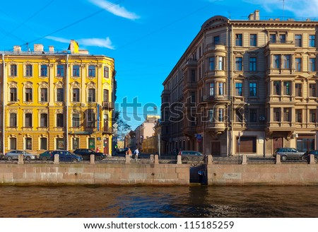 ST.PETERSBURG, RUSSIA - AUGUST 2: Moyka River in August 2, 2012 in St.Petersburg, Russia. In the XVIII century flowed out of the swamp, now follows from the Fontanka River. Length of 4.67 km