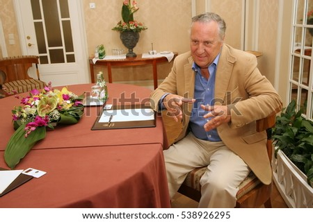 St. Petersburg, Russia - August  04, 2006: The famous English writer Frederick Forsyth at a press conference.