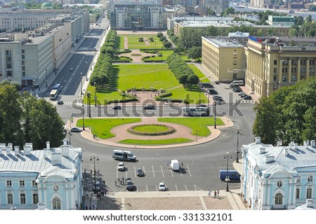 ST. PETERSBURG, RUSSIA - AUGUST 09, 2015: view of the square Rastrelli from the height of the Smolny Cathedral in St. Petersburg, Russia