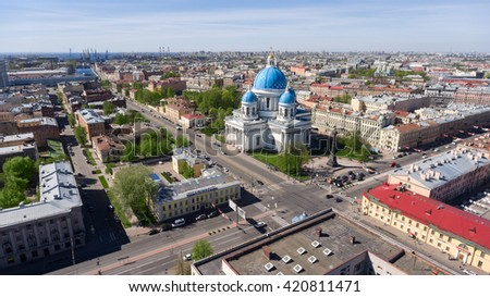 ST. PETERSBURG, RUSSIA - CIRCA MAY, 2016: The Trinity Cathedral (or Troitsky church) is on the crossing of Izmailovsky avenue and Krasnoarmeiskaya street in city center. Top view.