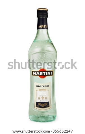 ST. PETERSBURG, RUSSIA - DECEMBER 26, 2015: Bottle of Martini Bianco Vermouth, Italy - stock photo