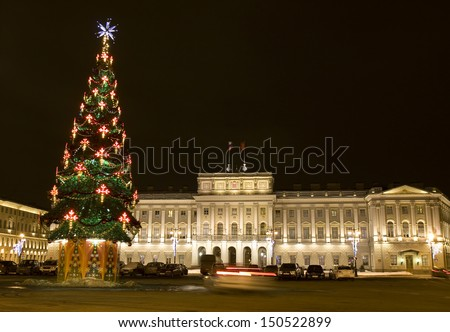 ST. PETERSBURG, RUSSIA - DECEMBER 24: Christmas - New Year tree near Mariinskiy palace at night, December 24, 2012, in town St. Petersburg, Russia.