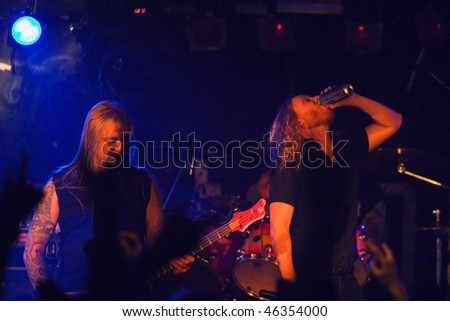 "ST PETERSBURG, RUSSIA - DECEMBER 19: ""Dark Tranquillity"", a melodic death metal band, performs on December 19, 2009 in St. Petersburg, Russia"