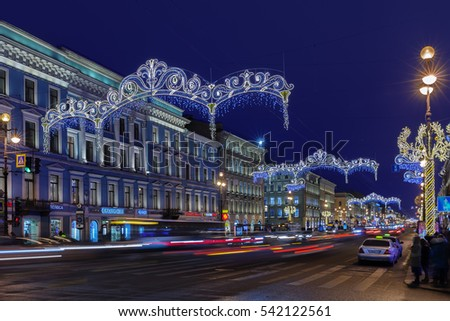 ST. PETERSBURG, RUSSIA - DECEMBER 21, 2016: Nevsky Prospect at night Christmas illumination. It is the main street in Saint Petersburg